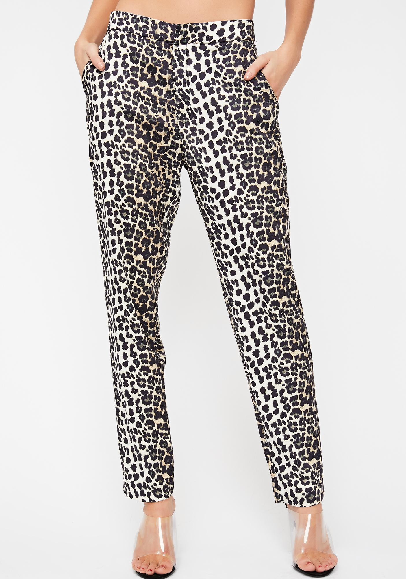1b03babfefe8 Satin Leopard Slim Pants | Dolls Kill