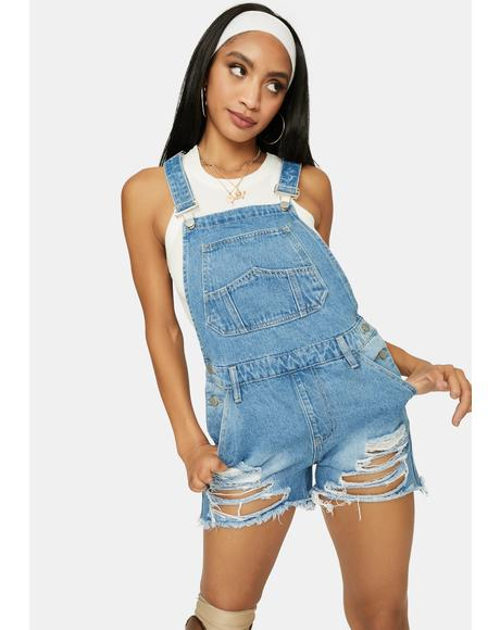 Powder Don't Follow Me Denim Shortalls