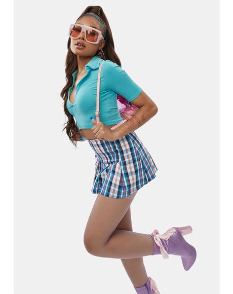Aqua Plaid Pain Proof Pleated Skirt