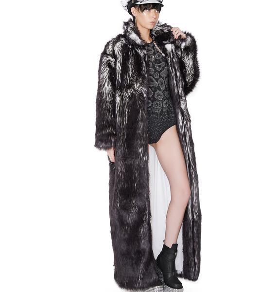 J Valentine Volcanic Long Light-Up Faux Fur Coat