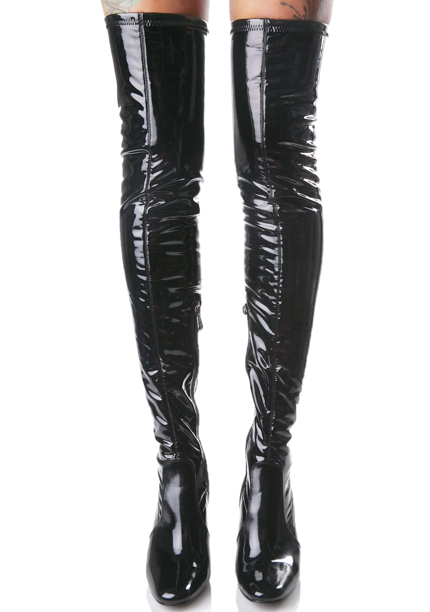 Black Thigh High Clear Heel Boot | Dolls Kill