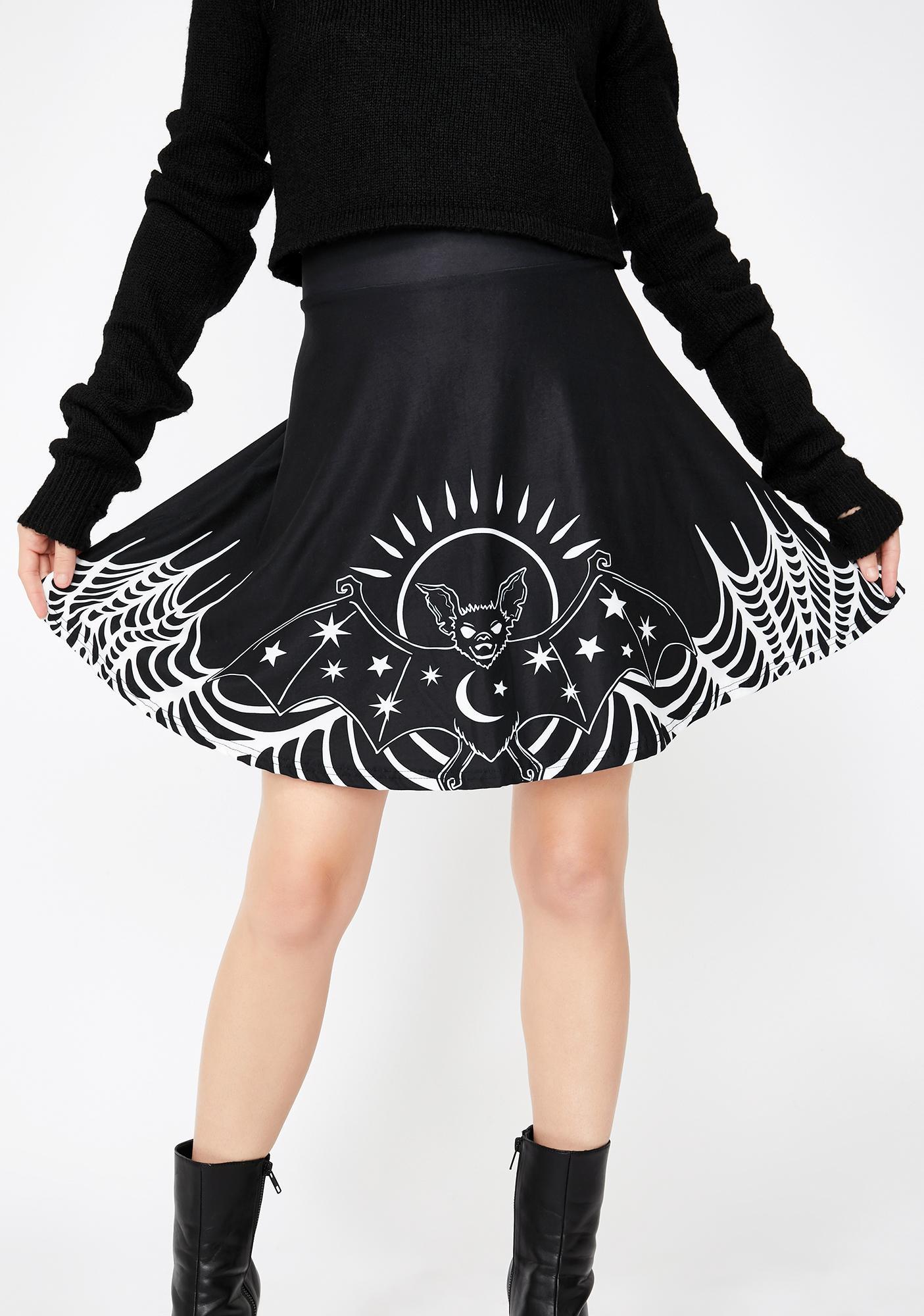 Too Fast Starry Eyed Bat Skater Skirt
