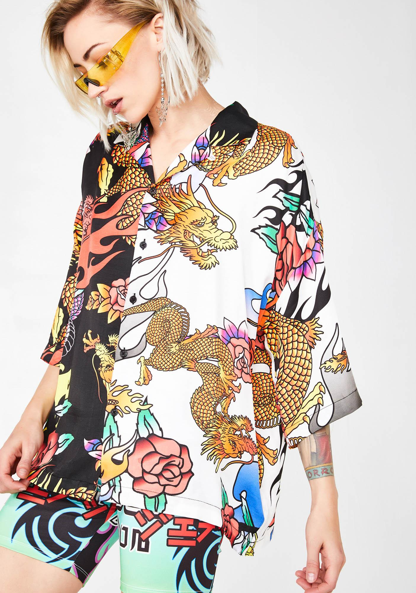 Jaded London Half N' Half Oversized Dragon Print Shirt