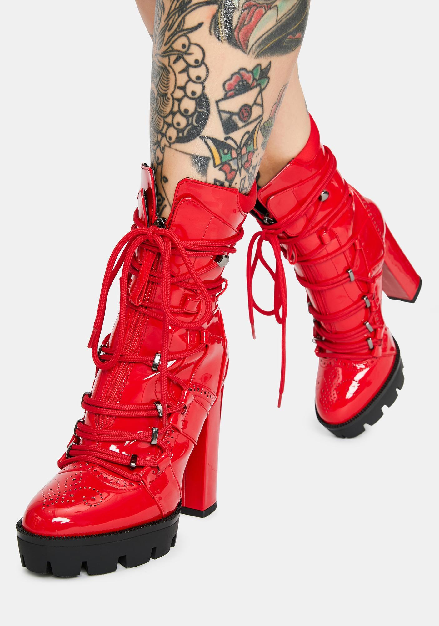 AZALEA WANG Johnson Patent Platform Ankle Boots