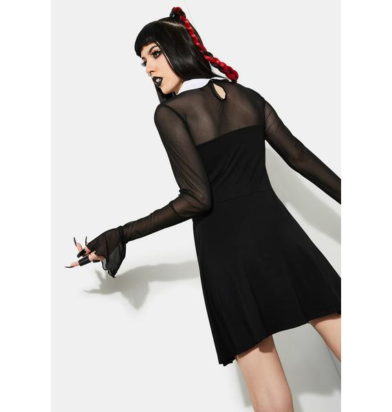 Current Mood Touch Of Darkness Mesh Skater Dress