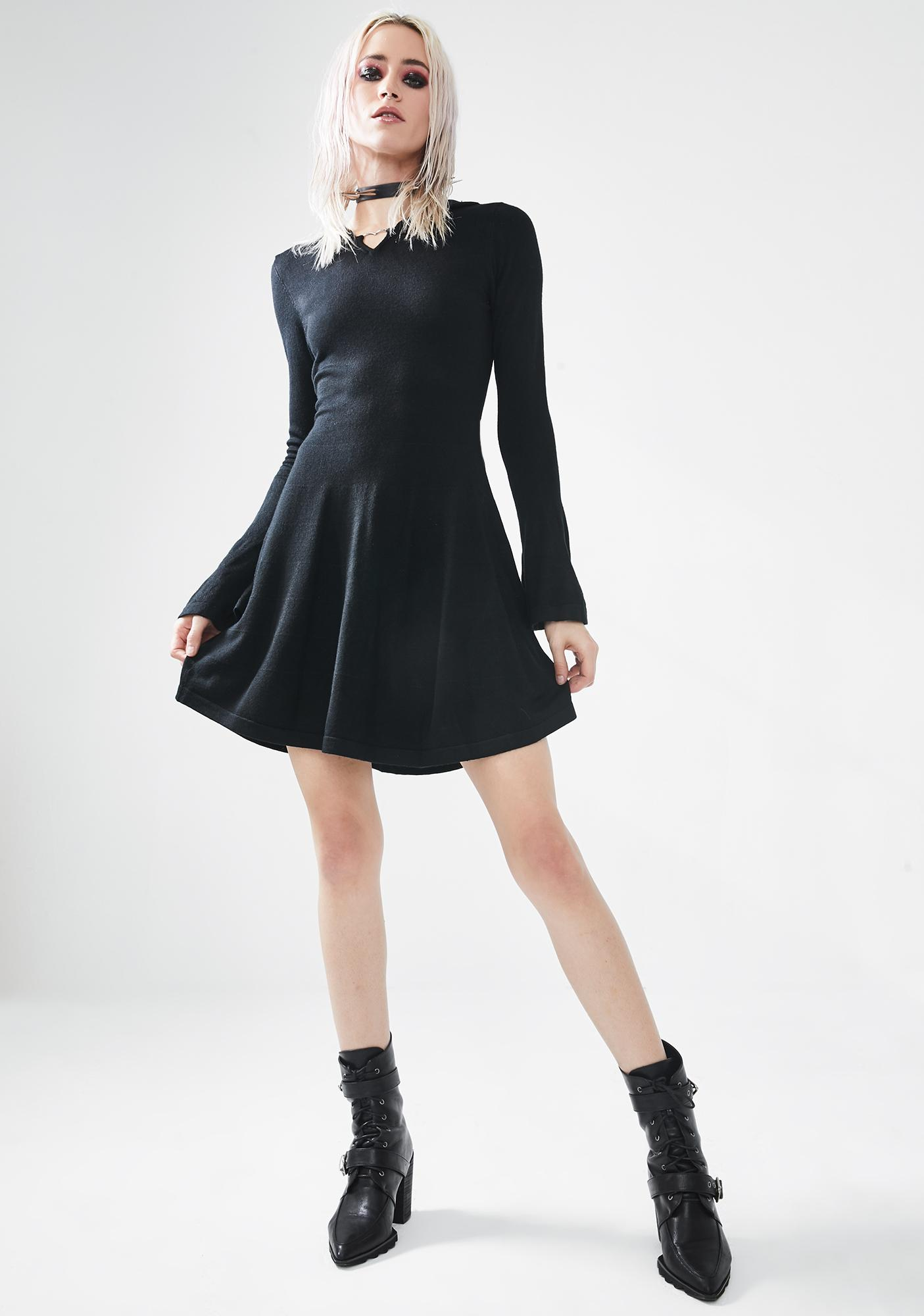 Punk Rave Dark Witch Woolen Dress
