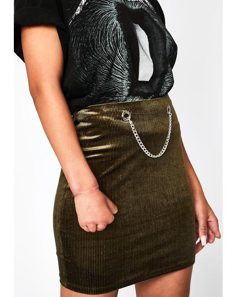 Olive Waiting Game Mini Skirt
