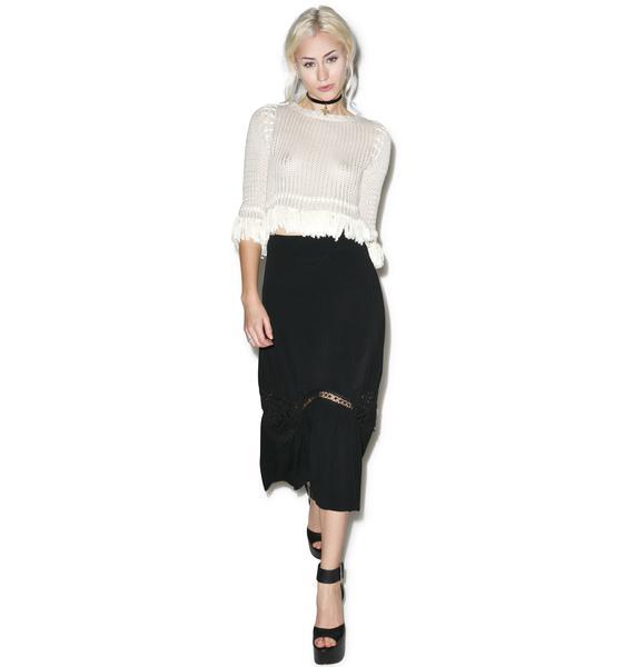 For Love & Lemons Noir Penelope Midi Skirt