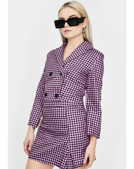 Pink Gingham Blazer Skirt Set