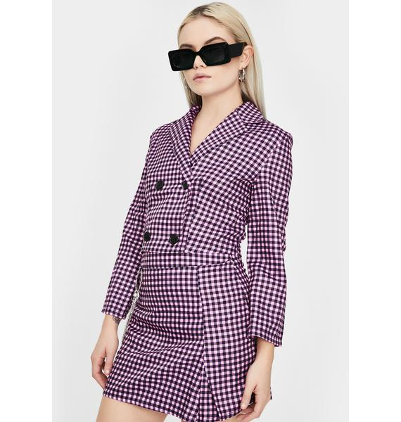 ZEMETA Pink Gingham Blazer Skirt Set