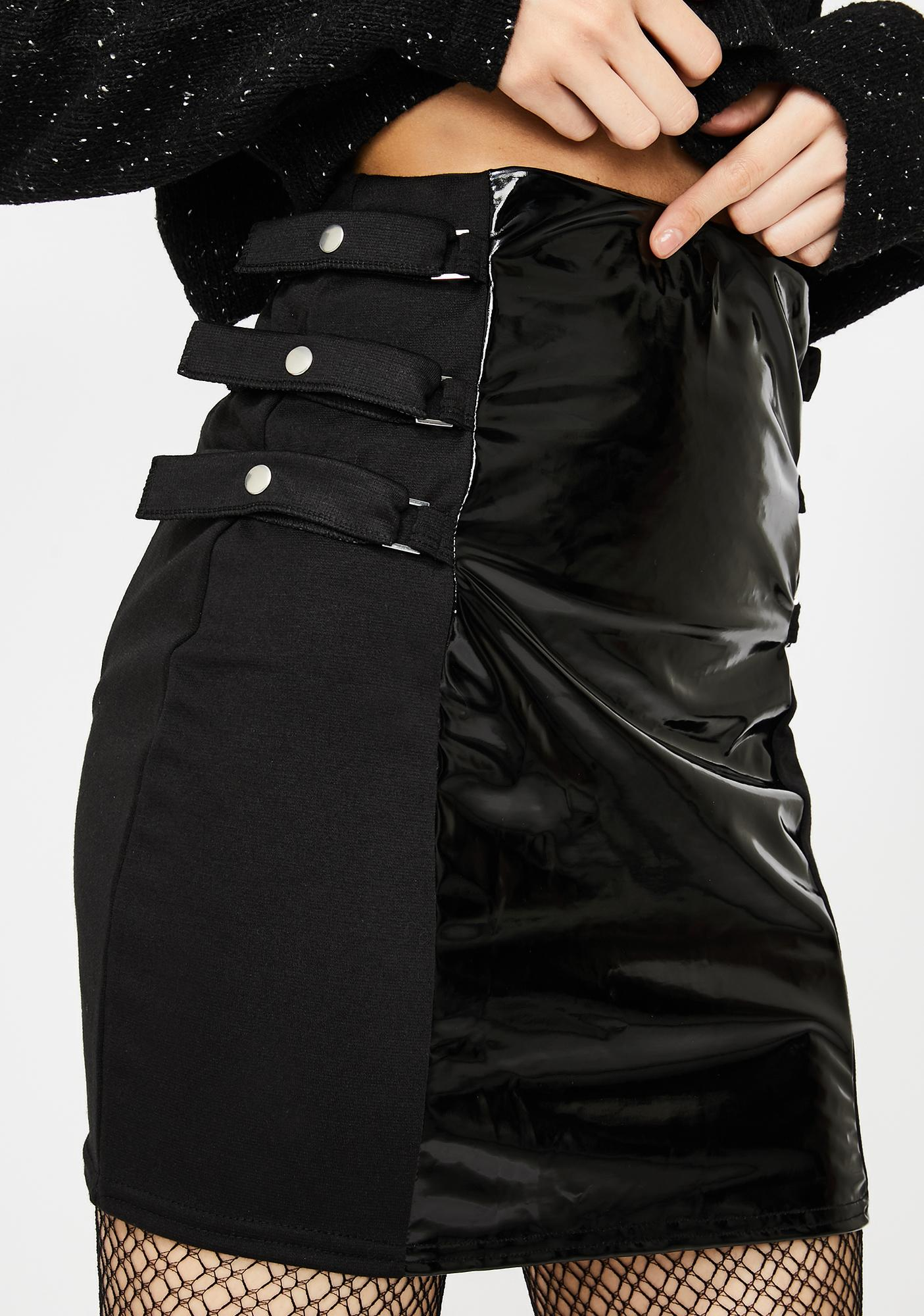 Another Reason PVC Panel Buckle Mini Skirt