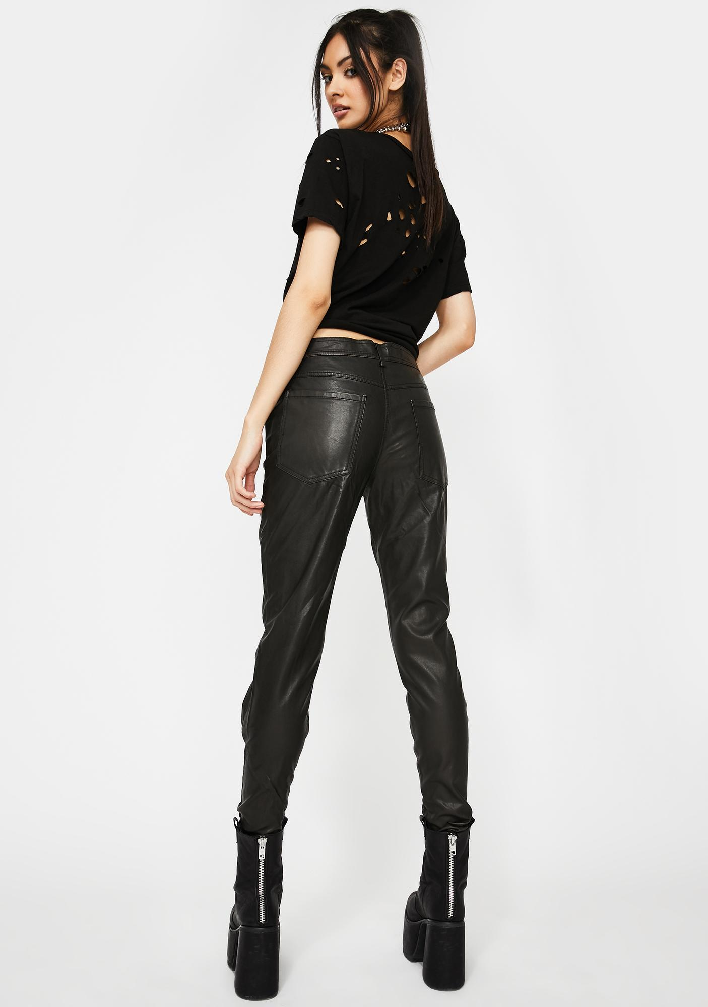 Devil Fashion Faux Leather Skinnies With Slanted Zipper