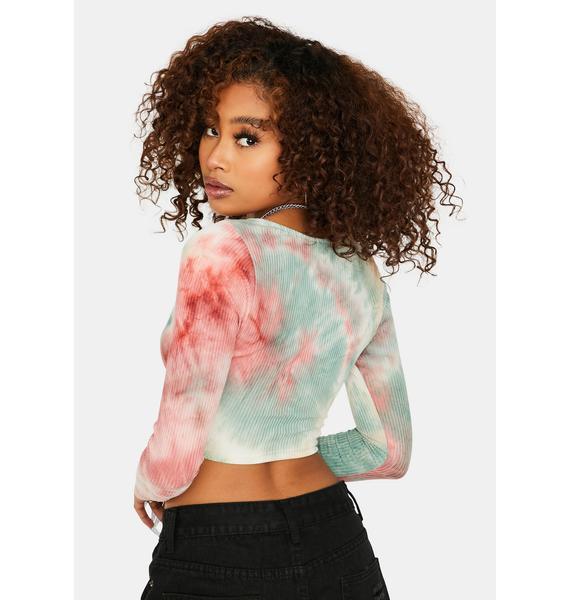 Side Chic Tie Dye Long Sleeve Crop Top