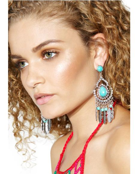 Desert Doll Turquoise Feather Earrings