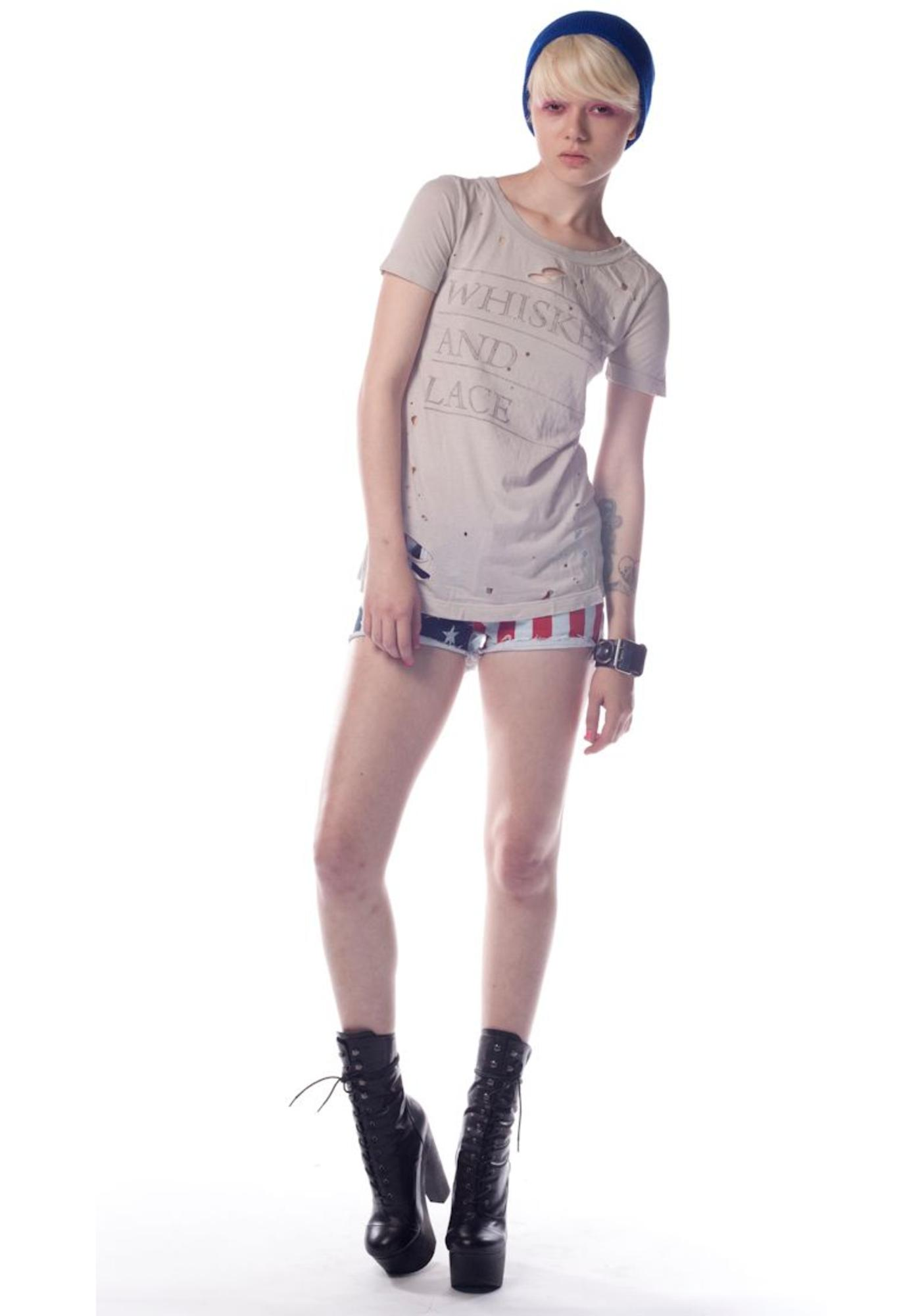 Chaser Whiskey and Lace Slouchy Tee Shirt