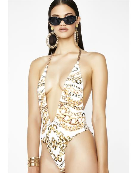 Gold Chain Plunge One Piece