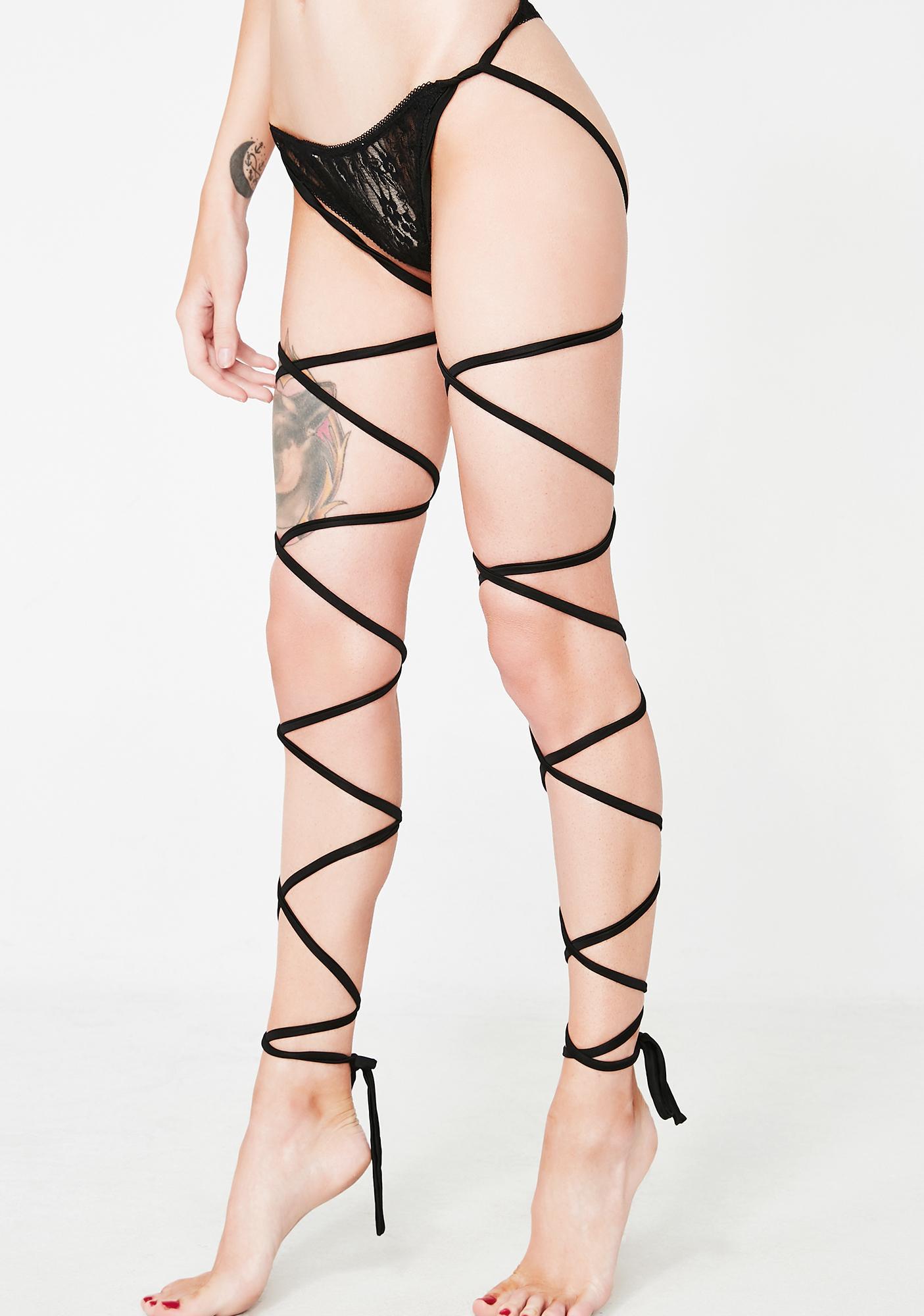 2323990780f Black Leg Wrap Lace Panties | Dolls Kill
