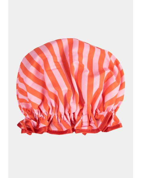Candy Striped Shower Cap
