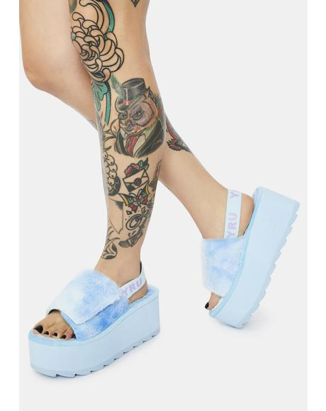 Qozii Blue Tie Dye Faux Fur Platform Slides