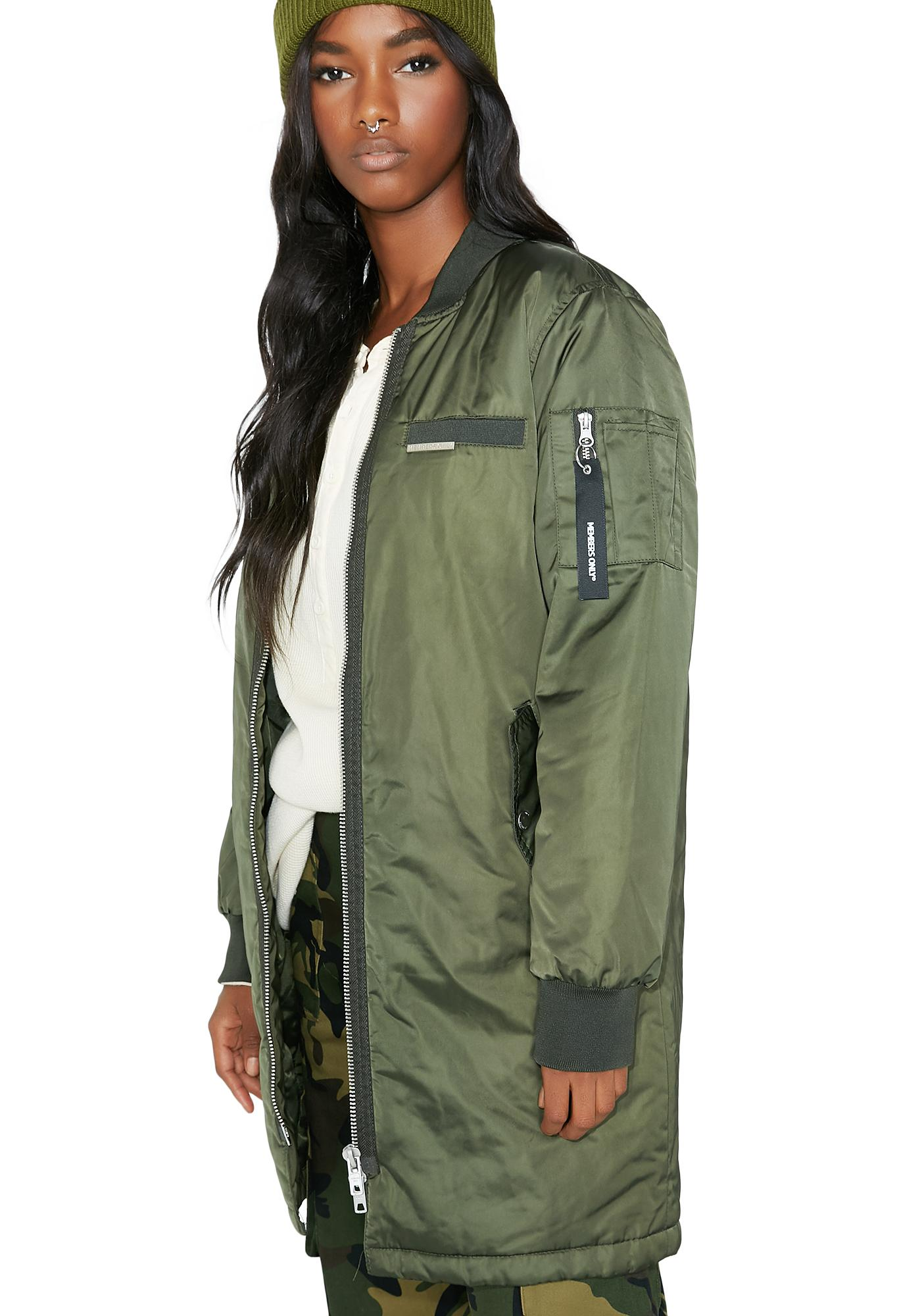 Members Only Satin Long Bomber