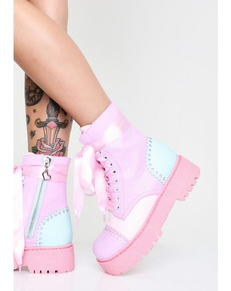 Bubblegum Party Combat Boots