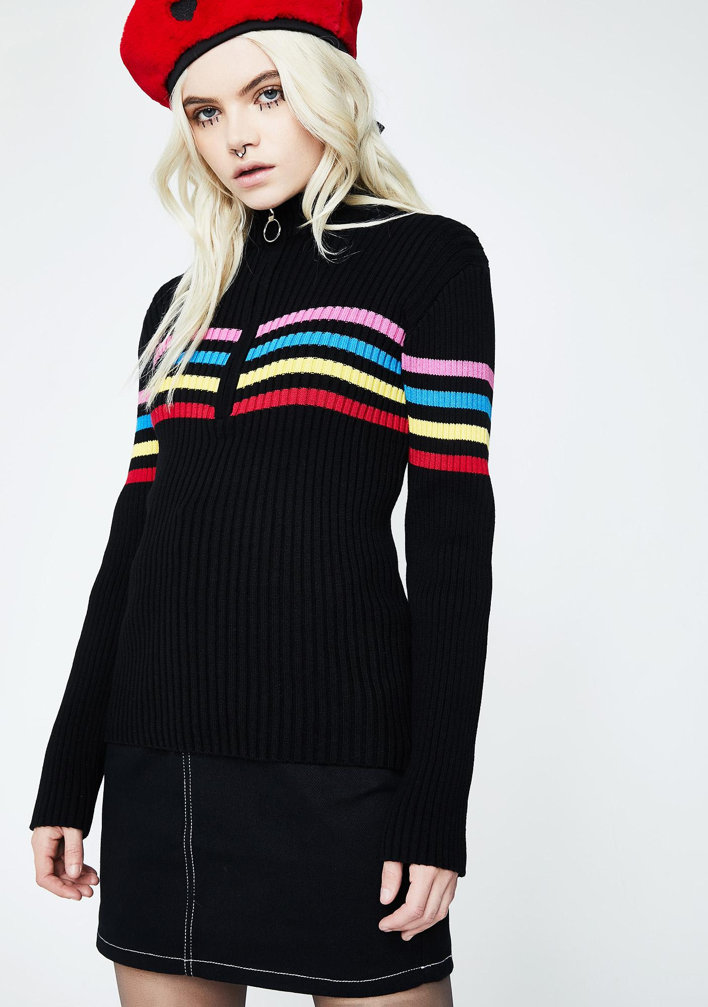 Lazy Oaf Zip Through Rainbow Knit