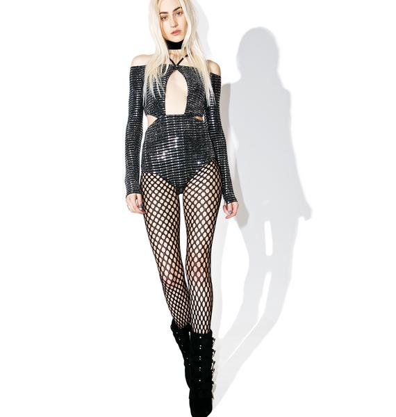 Jaded London Lurex Jersey Cut Out Body