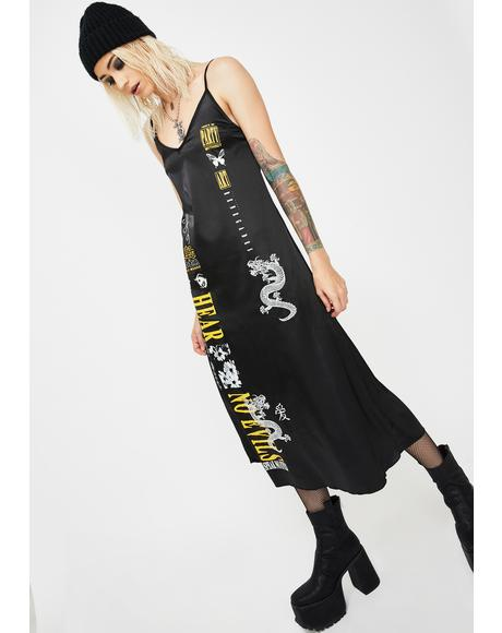 Print Satin Midi Slip Dress