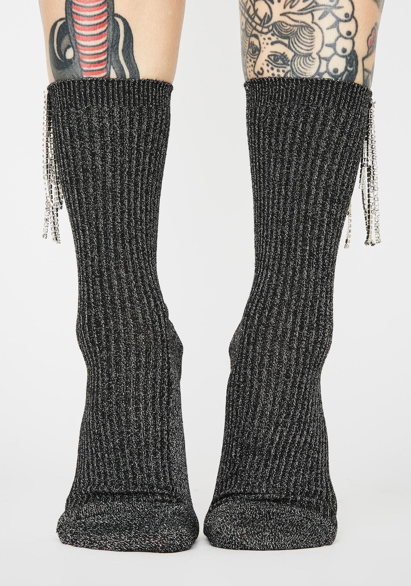 Regal Dazzle Rhinestone Fringe Socks