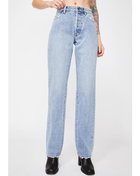 90s Blue Classic Straight Leg Jeans