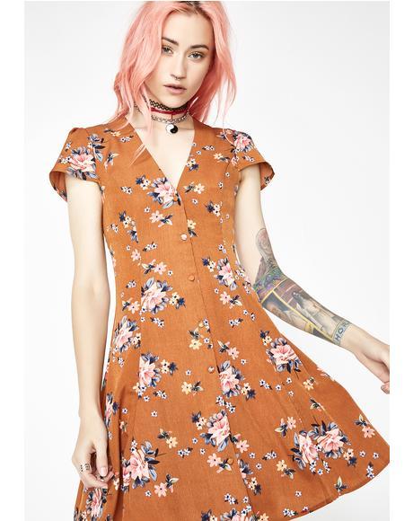 Still Love Floral Button Mini Dress