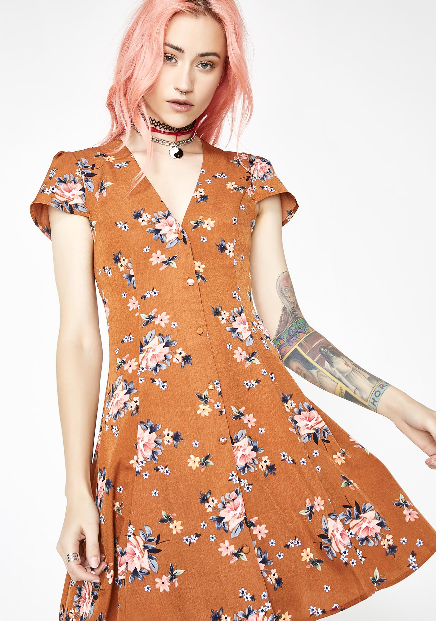 Still Love Floral Button Mini Dress