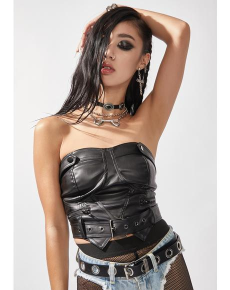 Grand Theft Vegan Leather Tube Top