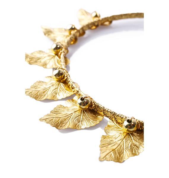 Rock n Rose Olive Brass Leaf Crown