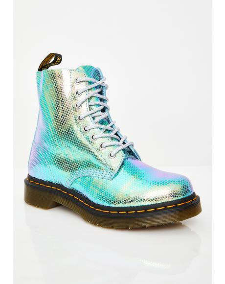 1460 Pascal Blue Duo Chrome Boots