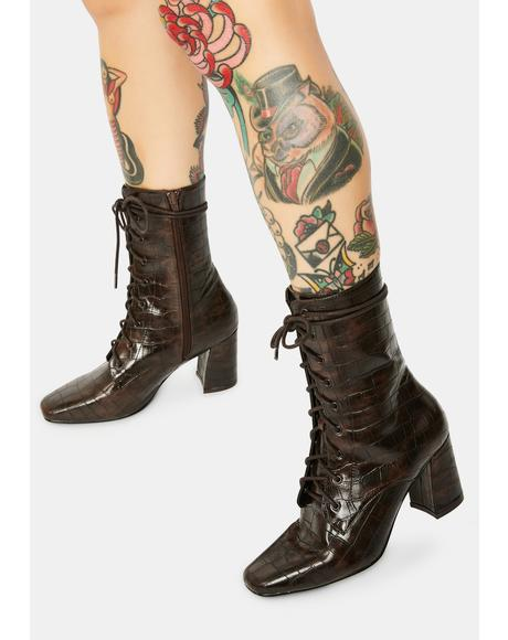 Avri Brown Croc Lace-Up Boots