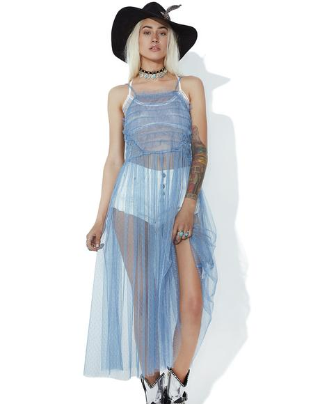 Sapphire Sheer Ruffle Dress