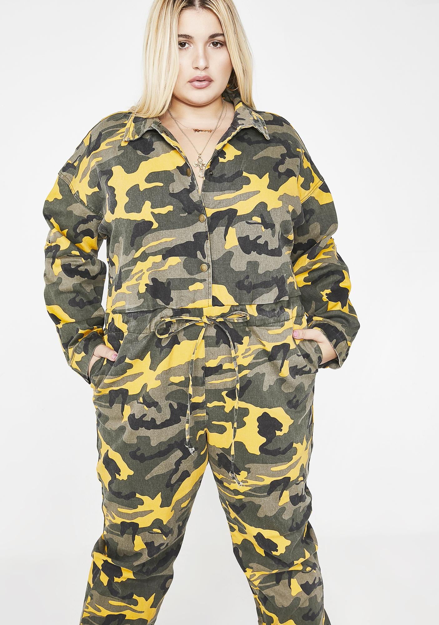 f4b6a464ae1 Plus Size Jumpsuit Yellow Camo