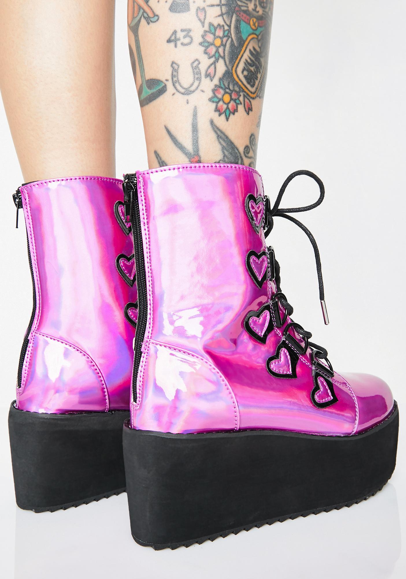 Strange Cvlt Grape Stomp Heart Boots