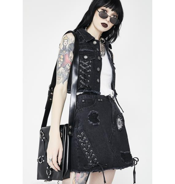 Killstar Phased Out Denim Skirt