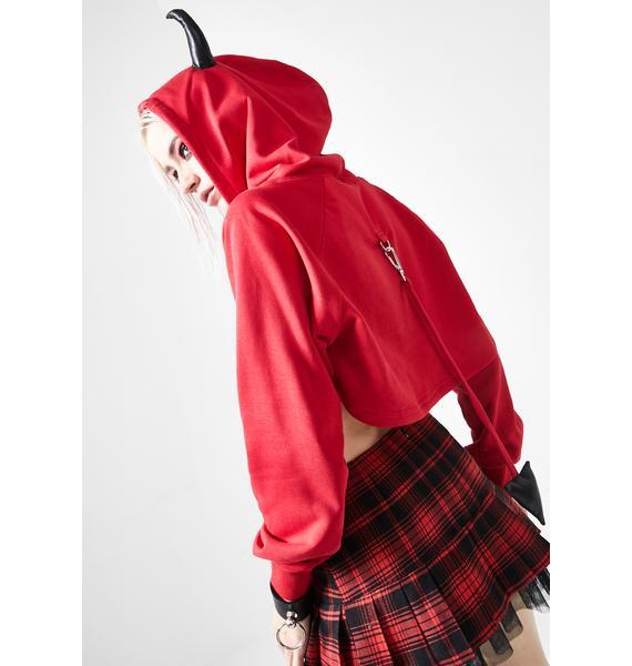 Punk Rave 3D Devil Horn Crop Hoodie