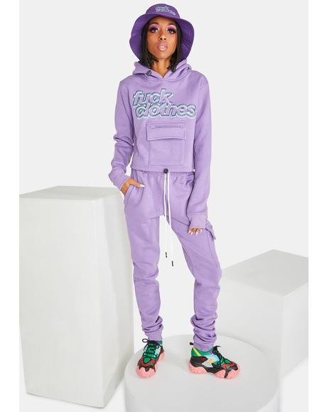 Purple Fuck Clothes Jogger Set