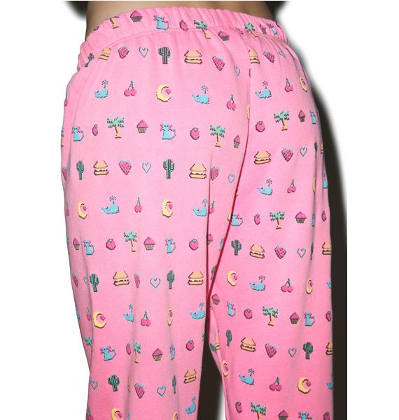 Wildfox Couture Pixelated Emoji Easy Sweatpants