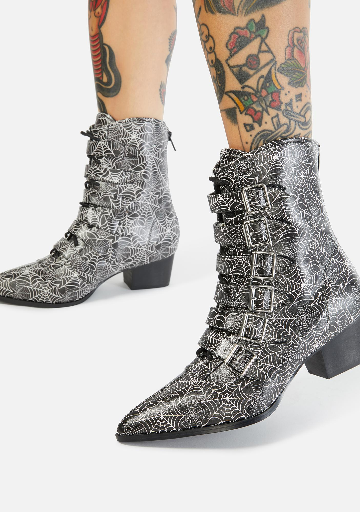 Strange Cvlt Spider Web Coven Buckle Boots