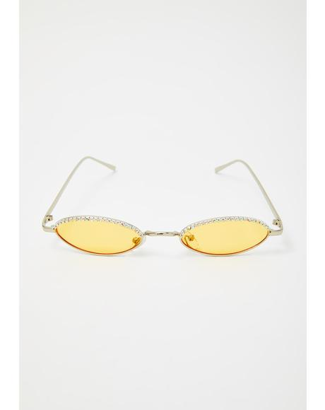 Caution Crushin It Rhinestone Sunglasses