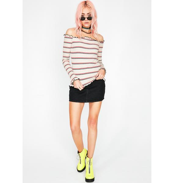 Come N' Go Stripe Top