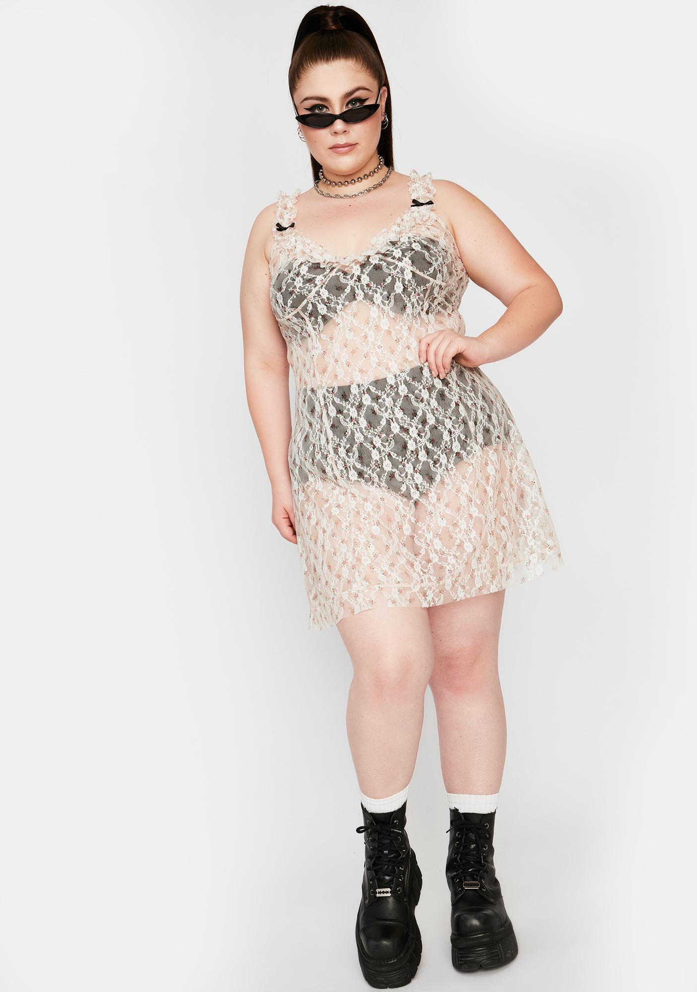 NEW GIRL ORDER Curve White Lace Mini Dress