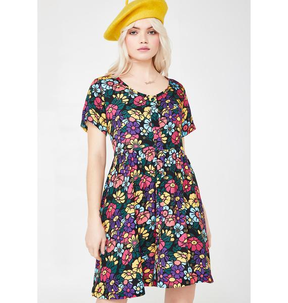Lazy Oaf Button Through Floral Dress