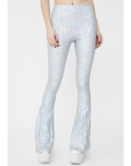 Silver Hologram Sequin Bell Bottoms