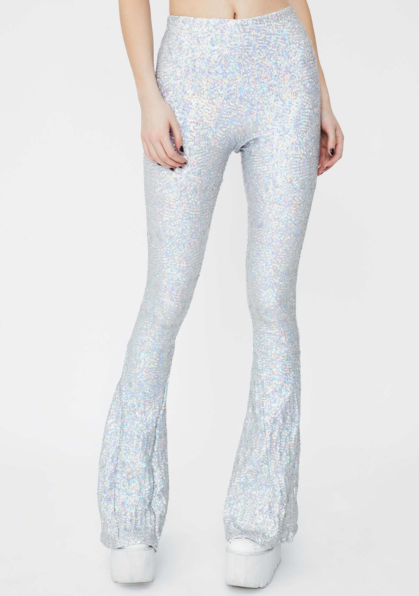 Sparkl Fairy Couture Silver Hologram Sequin Bell Bottoms